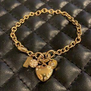 Coach Gold Heart Logo Charm Bracelet
